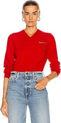Comme des Garcons Double Emblem V Neck Sweater