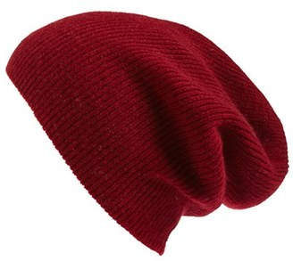 Women's Halogen Slouchy Cashmere Beanie - Red $45 thestylecure.com
