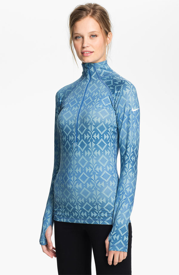 Nike 'Pro Hyperwarm' Print Half Zip Top