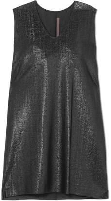Rick Owens Metallic Crepe Mini Dress - Black