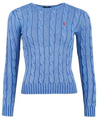 Polo Ralph Lauren Julianna Crew Neck Cotton Cable Jumper Colour: BLUE,