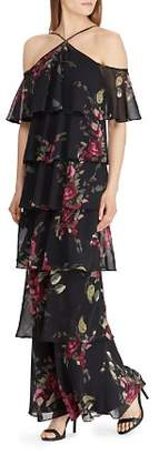 Ralph Lauren Tiered Cold-Shoulder Floral Gown
