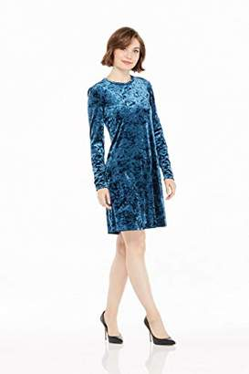 London Times Women's Long Sleeve Round Neck Velvet Shift Dress