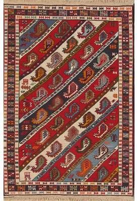 Bloomsbury Market Jetta Paisley Tribal Kilim Shiraz Persian Style Area Rug 5' 1'' X 3' 5'' Bloomsbury Market