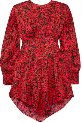 Alessandra Rich - Leopard-print Silk-jacquard Mini Dress - Red