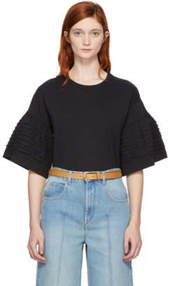 See by Chloe Navy Ruffle Sleeve T-Shirt