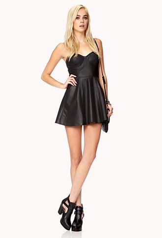 Forever 21 Bombshell Faux Leather Skater Dress