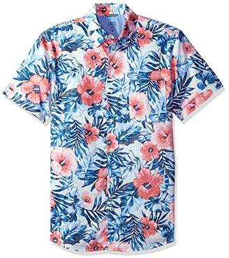 Izod Men's Dockside Chambray Print Short Sleeve Shirt (Regular and Slim Fit) Bright White