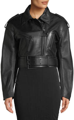Thierry Mugler Cropped Soft Leather Moto Jacket