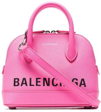 Balenciaga fluorescent pink Ville XXS leather tote