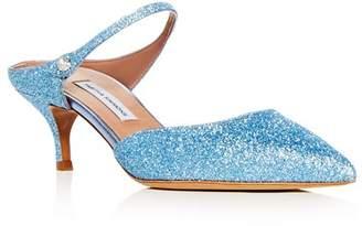 26881d618cb Tabitha Simmons Women s Liberty Glitter Pointed Toe Kitten Heel Mules