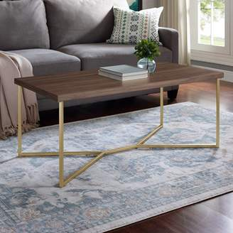 Mid-Century MODERN Manor Park 42 Transitional Y-Leg Coffee Table - Dark Walnut/Gold