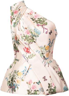 Monique Lhuillier one-shoulder floral print blouse