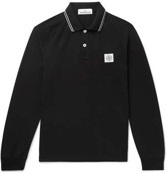 Stone Island Slim-Fit Contrast-Tipped Stretch-Cotton Piqué Polo Shirt