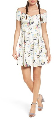 Women's Lush Print Neoprene Off The Shoulder Dress $49 thestylecure.com