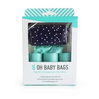 Oh Baby Bags Duffel Diaper Dispenser Gift Box Navy White Dots