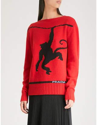 Prada Monkey intarsia wool and cashmere-blend jumper