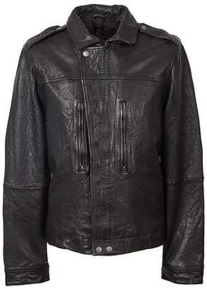 Pretty Green Zipthrough Leather Biker Jacket
