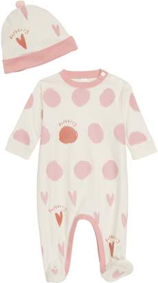 Burberry Hearts & Dots Footie & Hat Set