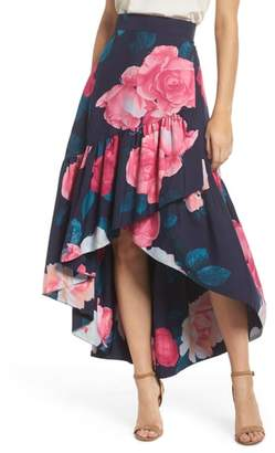 Eliza J Faux Wrap High/Low Taffeta Skirt