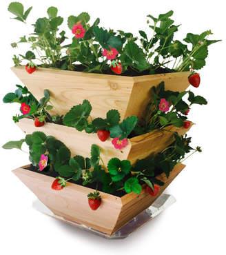 Architec Homegrown Gourmet Garden Strawberry Patch Tower Wood Vertical Garden Planter