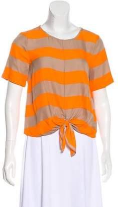 Tibi Striped Silk-Blend Top