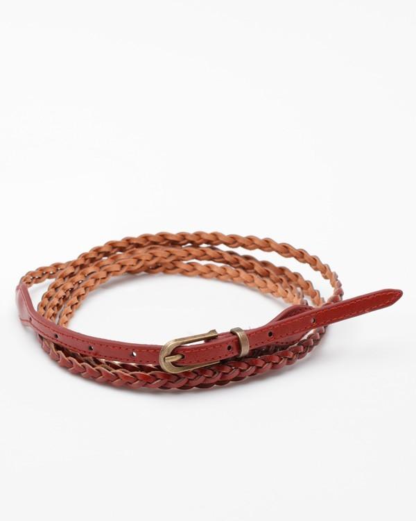 Skinny Braided Wrap Belt