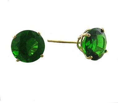 10K 6mm. Yellow Gold Synthetic Emerald Earrings