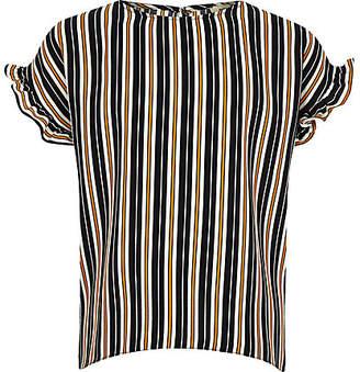 River Island Girls navy stripe frill sleeve T-shirt