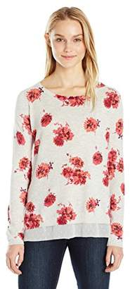 Lucky Brand Women's Open Floral Pullover Sweater