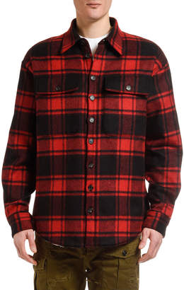 DSQUARED2 Men's Wool Plaid Shirt Jacket