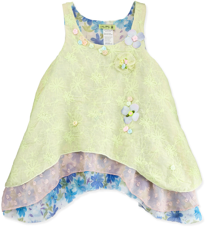 Little Mass Three-Layer Floral Tunic, 4-6X