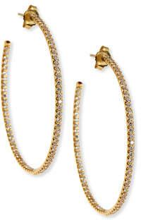 Roberto Coin 45mm Micro Pavé Diamond Hoop Earrings in 18K Yellow Gold