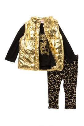 Juicy Couture Star Tee, Metallic Vest & Star Print Leggings Set (Baby Girls)