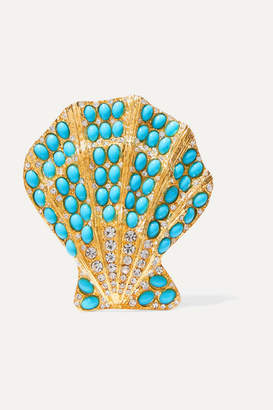 Kenneth Jay Lane Gold-tone, Turquoise And Crystal Brooch