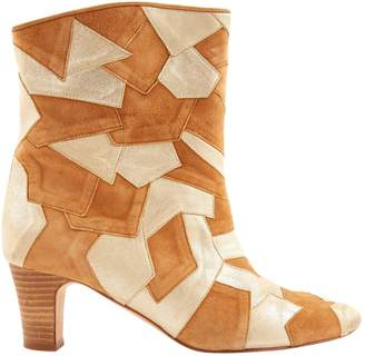 Patricia Blanchet Gold Suede Ankle boots
