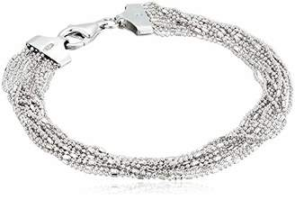 "Decadence Unisex Sterling Rhodium 12-String Bar and Bead 7.25"" Bracelet"