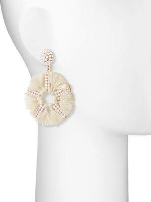 Panacea Pearly Bead & Tassel Circle-Drop Earrings