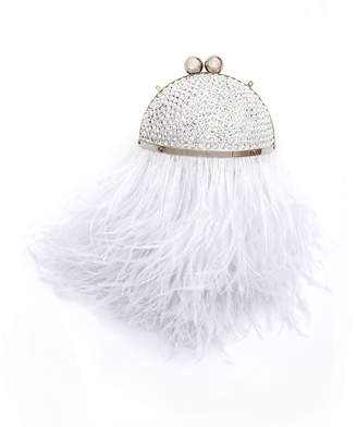 Marzook Mini Crystal Orb Minaudiere w/ Feathers, White