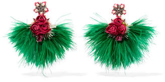 Ranjana Khan Swan Feather, Mother-of-pearl And Crystal Clip Earrings - Green
