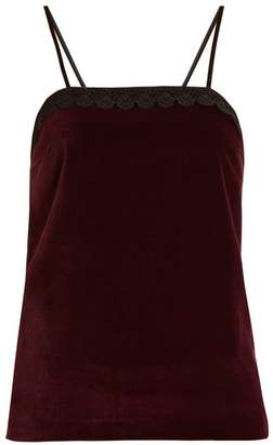 Racil - Fife Macrame Lace Trimmed Velvet Top - Womens - Burgundy