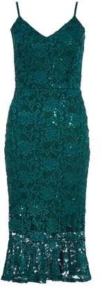 Quiz Bottle Green Lace Sequin Frill Hem Midi Dress