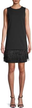 Calvin Klein Collection Feather-Trimmed Sleeveless Short Dress