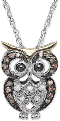 Macy's White and Brown Diamond Owl Pendant Necklace (1/10 ct. t.w.) in Sterling Silver and 14k Gold