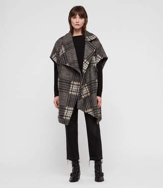 AllSaints Wrenley Check Cape