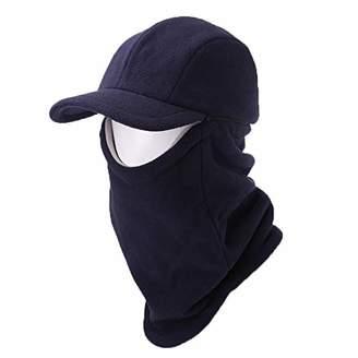 Jeff & Aimy 2 Piece Hat & Scarf Sets Mens Baseball Cap Neck Gaiters Warmer Fleece Balaclavas Winter Hat Navy-Blue
