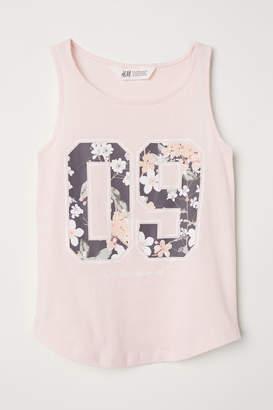 H&M Tank Top with Printed Motif - Pink