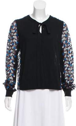 Marc Jacobs Long Sleeve Embroidered Top
