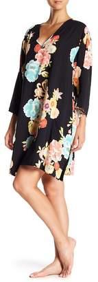 Natori V-Neck Long Sleeve Floral Print Caftan