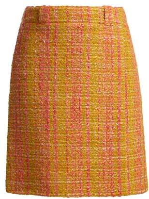 Prada Logo Patch Boucle Virgin Wool Skirt - Womens - Yellow Multi
